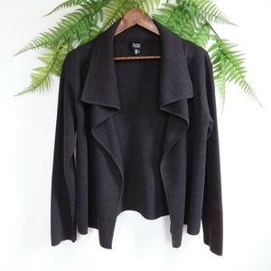 Eileen Fisher Open Cardigan 100% Wool Dark Brown